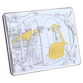 Annunciation painting in laminboard finished in gold and refined wooden back 16,3X21,6 cm s2
