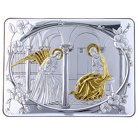 Annunciation painting in laminboard finished in gold and refined wooden back 16,3X21,6 cm s4