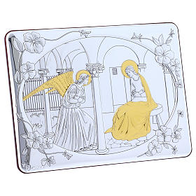 Annunciation painting in laminboard finished in gold and refined wooden back 16,3X21,6 cm s5