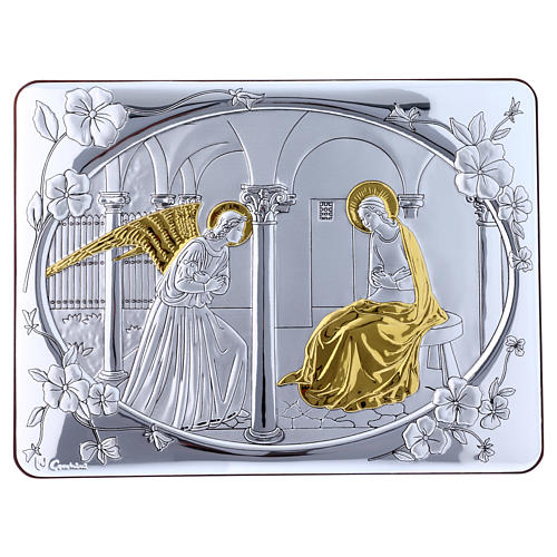 Annunciation painting in laminboard finished in gold and refined wooden back 16,3X21,6 cm 1