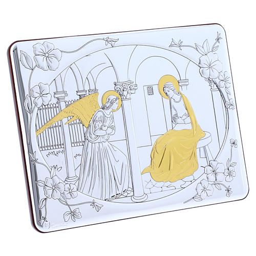 Annunciation painting in laminboard finished in gold and refined wooden back 16,3X21,6 cm 2
