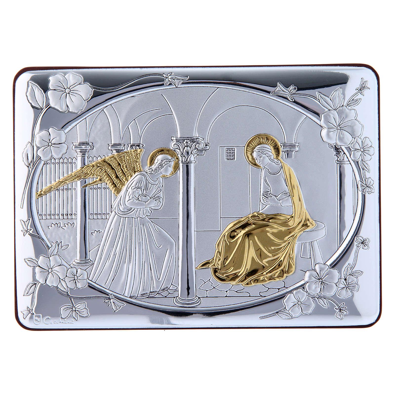 Quadro Annunciazione rifinito oro bilaminato retro legno pregiato 10X14 cm 4