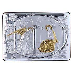 Quadro Annunciazione rifinito oro bilaminato retro legno pregiato 10X14 cm s1