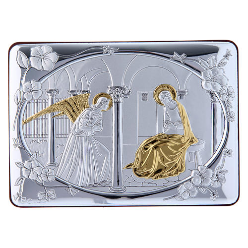 Quadro Annunciazione rifinito oro bilaminato retro legno pregiato 10X14 cm 1