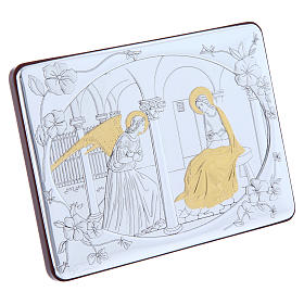 Annunciation painting in laminboard finished in gold and refined wooden back 10X14 cm s2