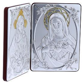 Quadro Sacro Cuore Maria Gesù bilaminato retro legno pregiato rifiniture oro 14X21 cm s2