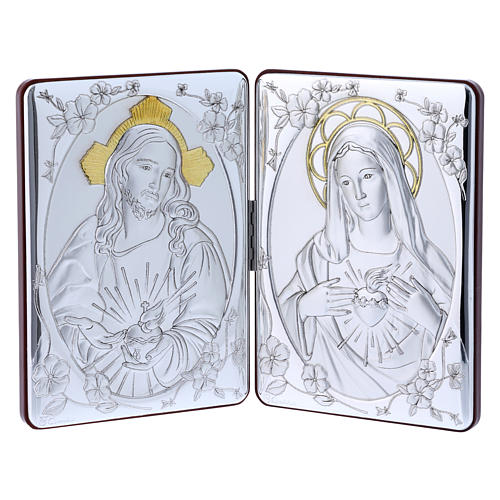 Quadro Sacro Cuore Maria Gesù bilaminato retro legno pregiato rifiniture oro 14X21 cm 1