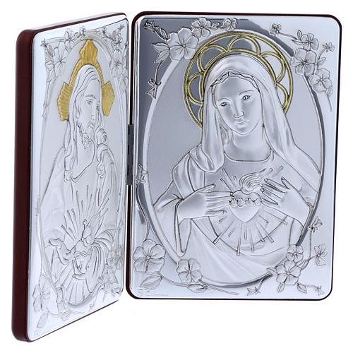 Quadro Sacro Cuore Maria Gesù bilaminato retro legno pregiato rifiniture oro 14X21 cm 2