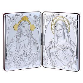 Quadro Sagrado Coração Maria Jesus bilaminado reverso madeira maciça acabamento ouro 14x21 cm s1
