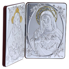 The Immaculate Heart of Mary and the Sacred Heart of Jesus painting in laminboard finished in gold and refined wooden back 14X21 cm s2