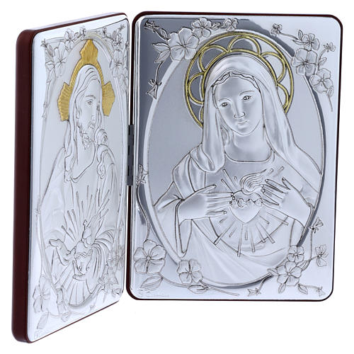 The Immaculate Heart of Mary and the Sacred Heart of Jesus painting in laminboard finished in gold and refined wooden back 14X21 cm 2