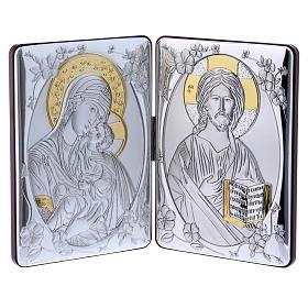 Quadro bilaminato retro legno pregiato rifiniture oro Madonna Tenerezza Pantocratore 14X21 cm s1
