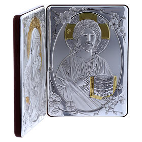 Quadro bilaminato retro legno pregiato rifiniture oro Madonna Tenerezza Pantocratore 14X21 cm s2