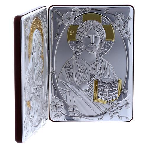 Quadro bilaminato retro legno pregiato rifiniture oro Madonna Tenerezza Pantocratore 14X21 cm 2