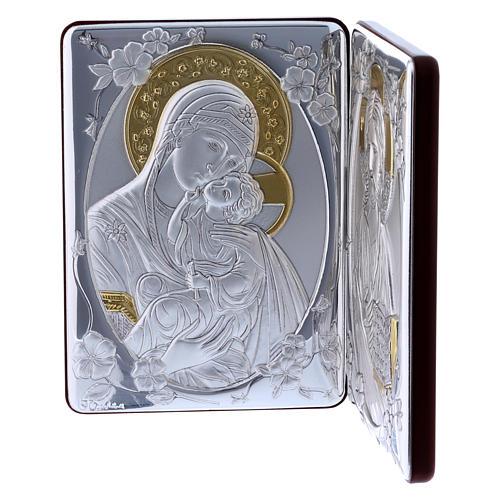 Quadro bilaminato retro legno pregiato rifiniture oro Madonna Tenerezza Pantocratore 14X21 cm 3