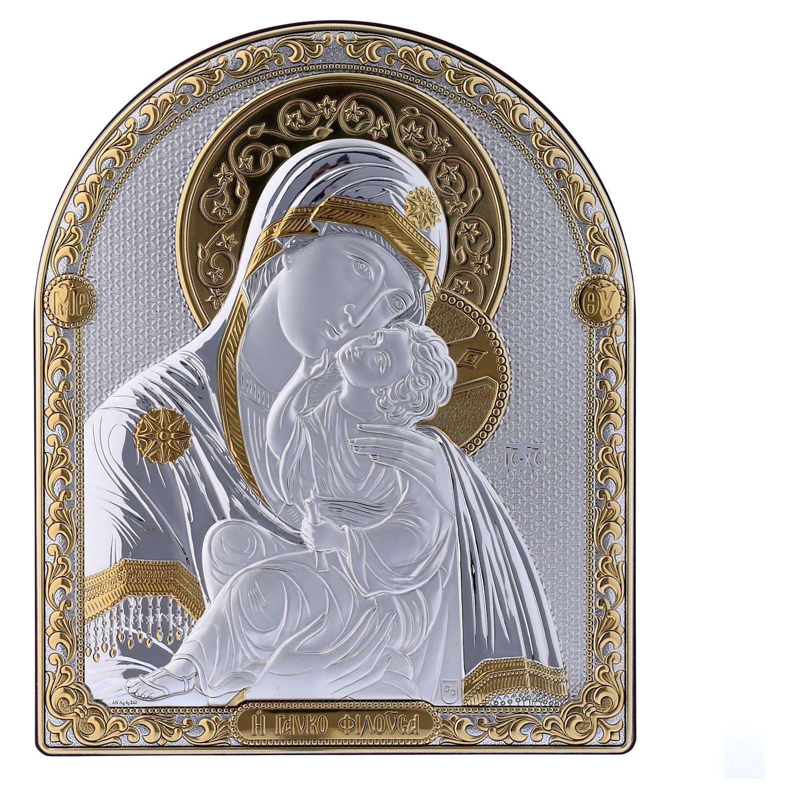 Cuadro Virgen Vladimir bilaminado parte posterior madera preciosa detalles oro 24,5x20 cm 4