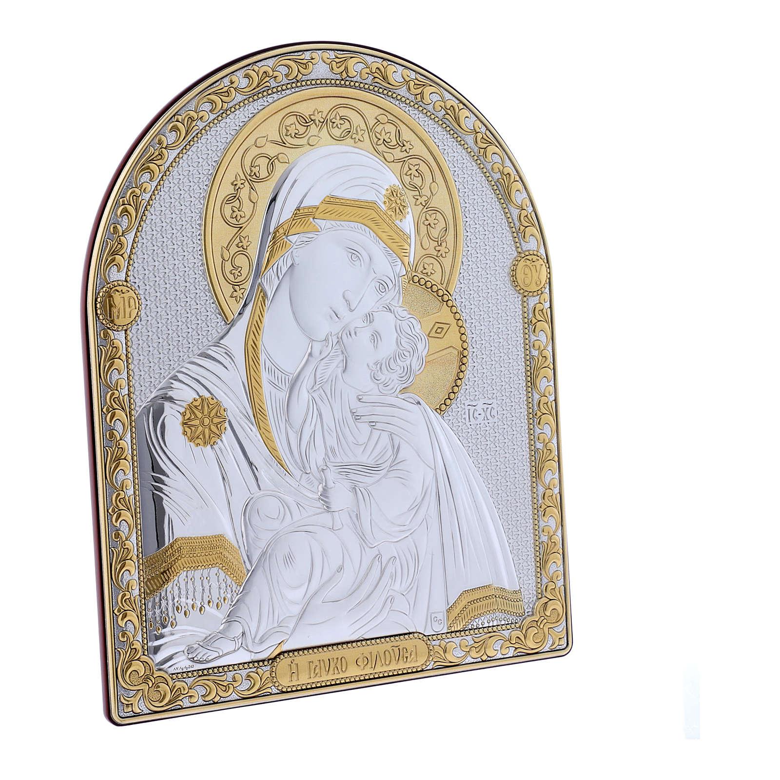 Quadro Madonna Vladimir bilaminato retro legno pregiato rifiniture oro 24,5X20 cm 4