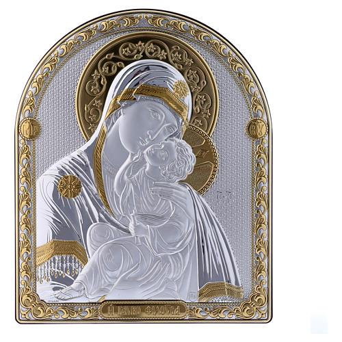 Quadro Madonna Vladimir bilaminato retro legno pregiato rifiniture oro 24,5X20 cm 1