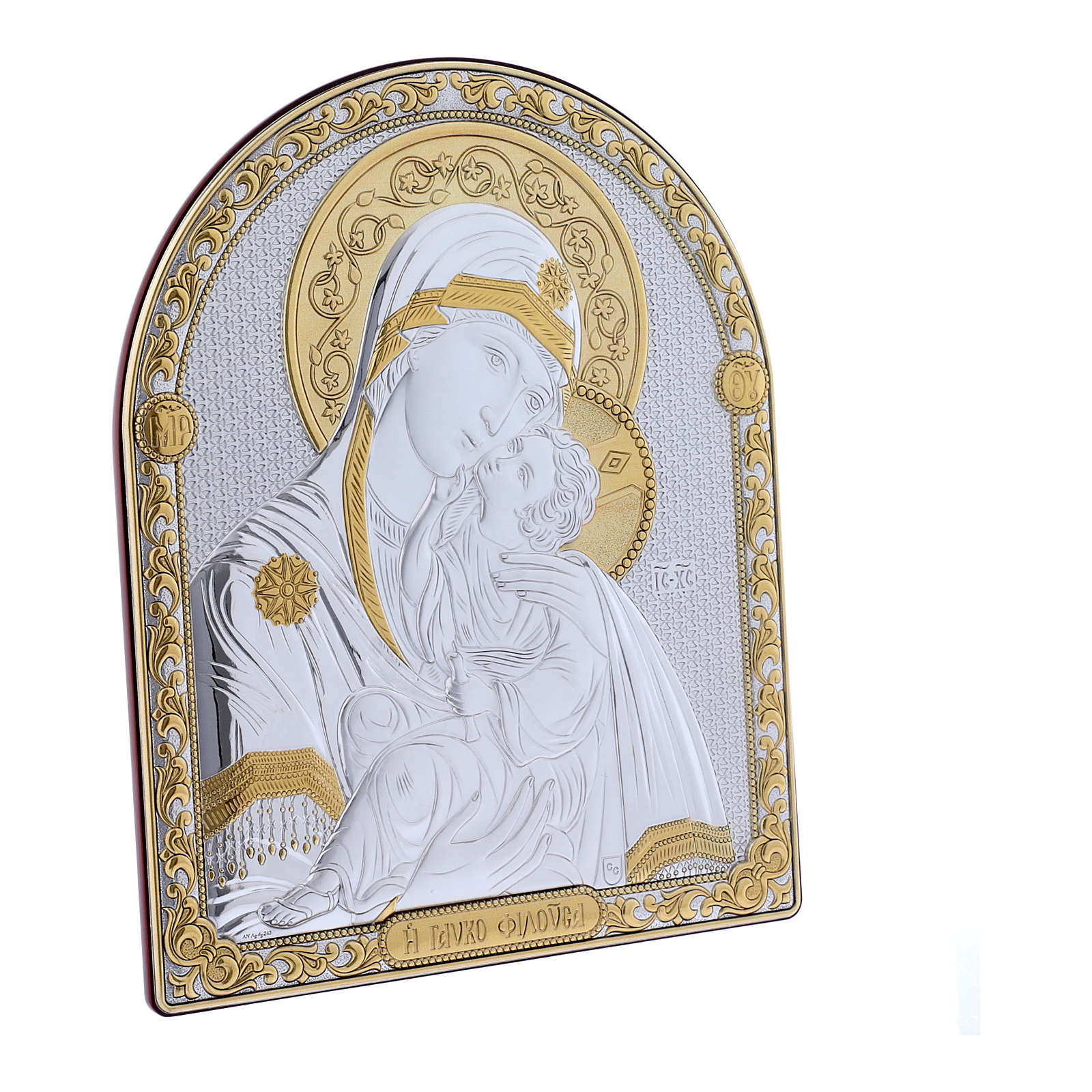 Our Lady of Vladimir painting in laminboard finished in gold and refined wooden back 24,5X20 cm 4
