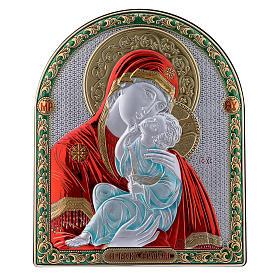 Cuadro bilaminado parte posterior madera preciosa detalles oro Virgen Vladimir roja 24,5x20 cm s1