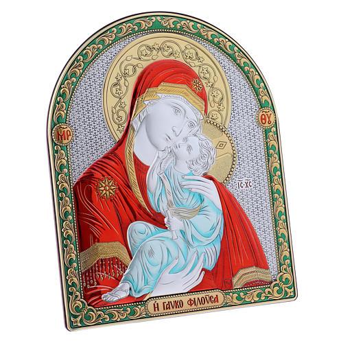Cuadro bilaminado parte posterior madera preciosa detalles oro Virgen Vladimir roja 24,5x20 cm 2