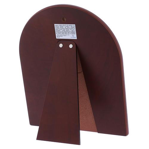 Quadro bilaminato retro legno pregiato finiture oro Sacra Famiglia rossa 24,5X20 cm 3