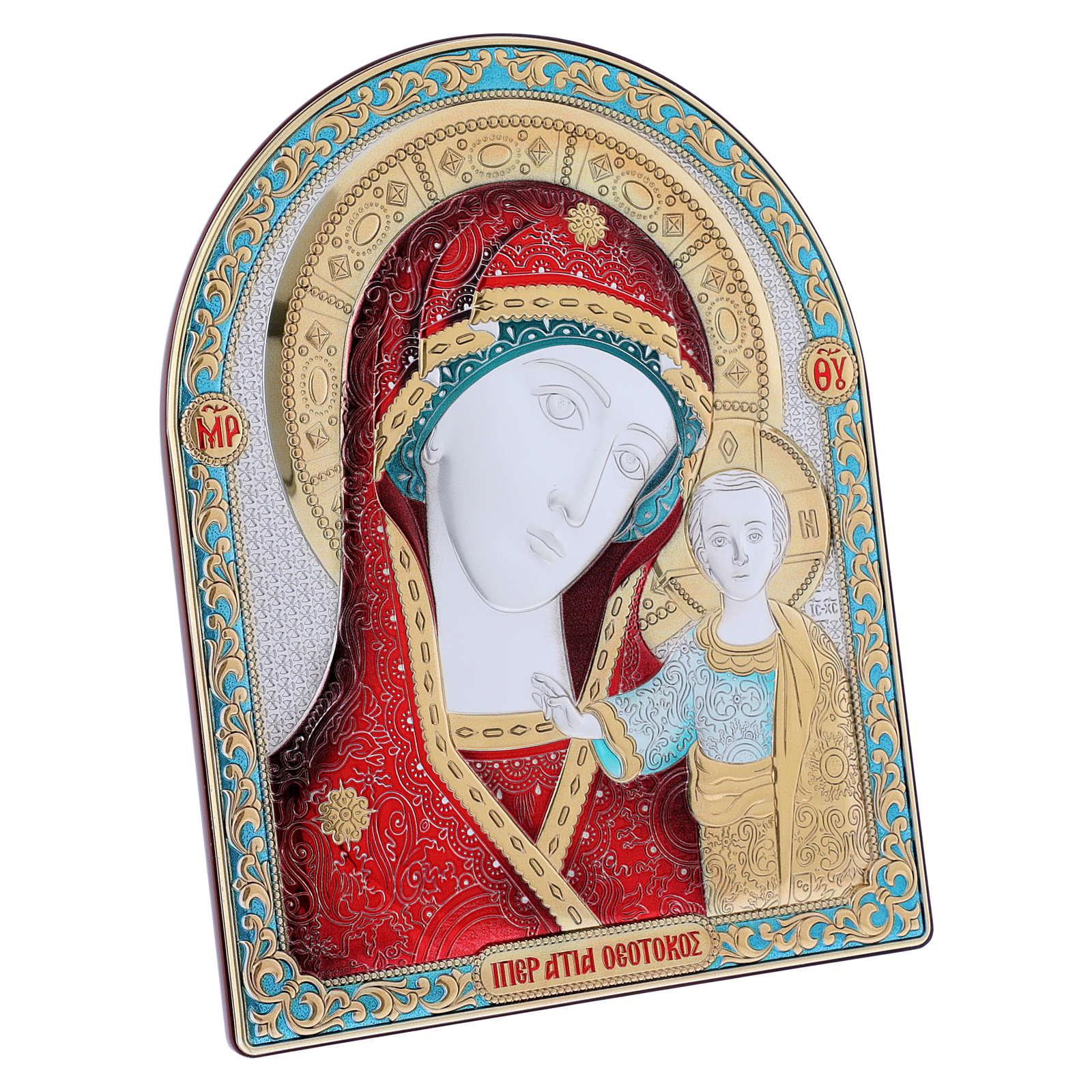 Quadro bilaminato retro legno pregiato finiture oro Madonna Kazan rossa 24,5X20 cm 4