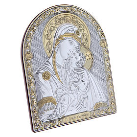Our Lady of Vladimir painting in laminboard finished in gold and refined wooden back 16,7X13,6 cm s2