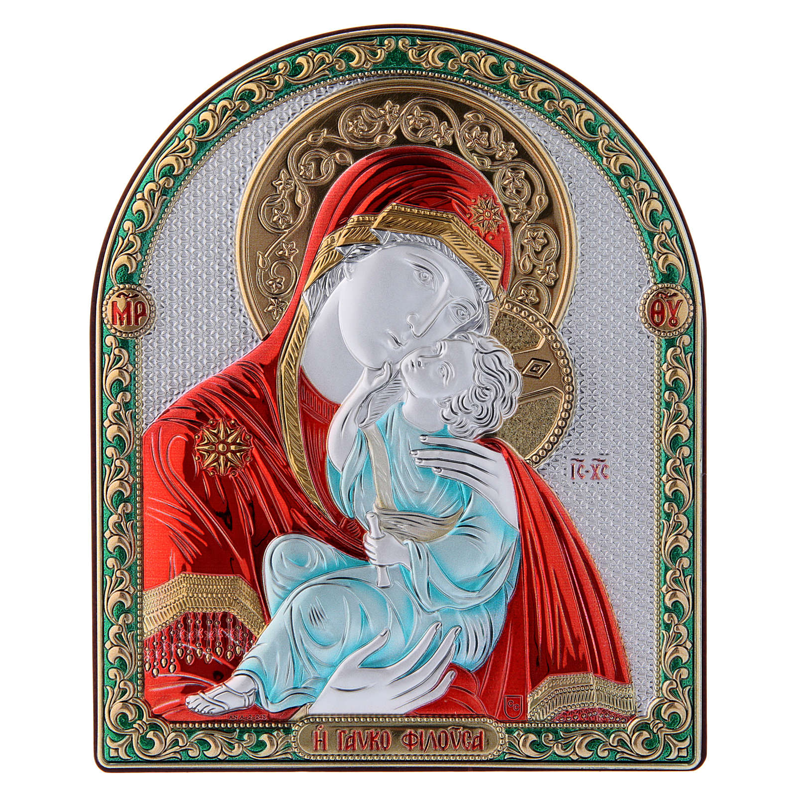 Our Lady of Vladimir painting red in laminboard finished in gold and refined wooden back 16,7X13,6 cm 4