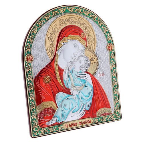 Our Lady of Vladimir painting red in laminboard finished in gold and refined wooden back 16,7X13,6 cm 2