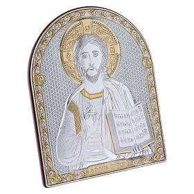 Christ Pantocrator painting in laminboard finished in gold and refined wooden back 16,7X13,6 cm s2