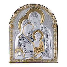Holy Family painting in laminboard finished in gold and refined wooden back 16,7X13,6 cm s1