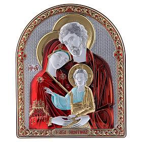 Quadro Sacra Famiglia rossa bilaminato retro legno pregiato finiture oro 16,7X13,6 cm s1