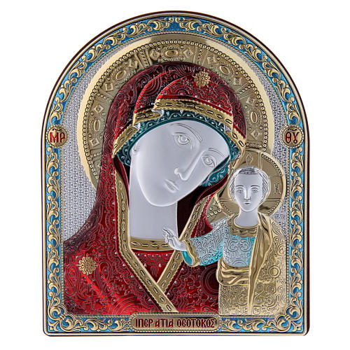 Our Lady of Kazan painting red in laminboard finished in gold and refined wooden back 16,7X13,6 cm 1