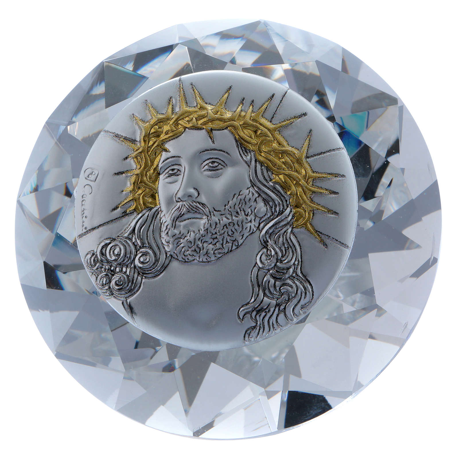 Diamante con placa metal Ecce Homo 4 cm 3