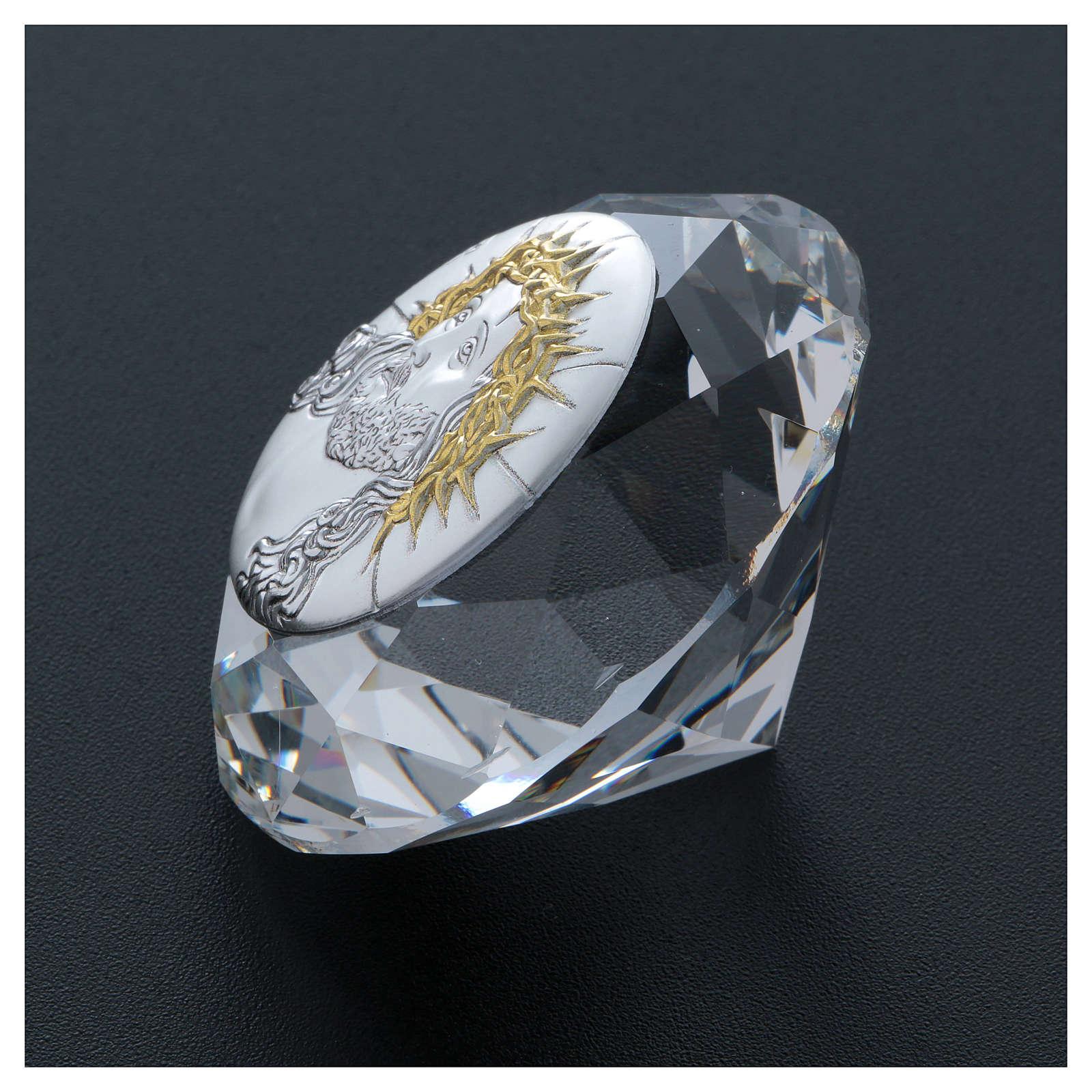 Diamante con placca metallo Ecce Homo 4 cm 3