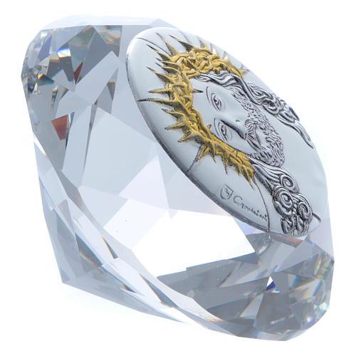 Diamante con placca metallo Ecce Homo 4 cm 2