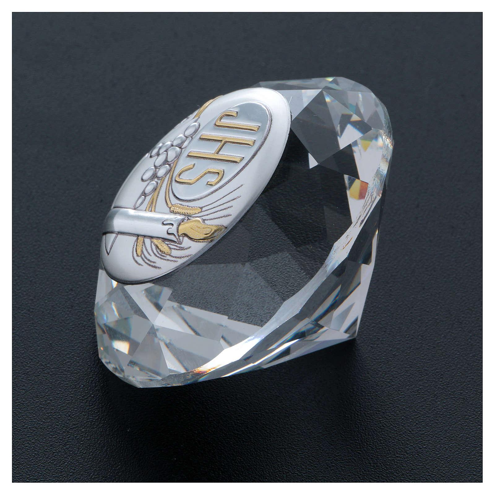 Diamante de cristal con placa metal Vela JHS 4 cm 3