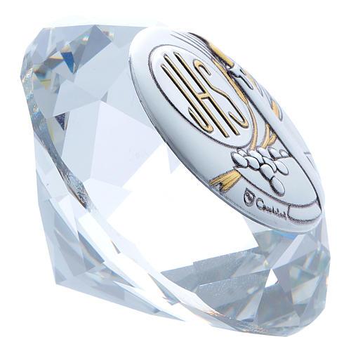 Diamante de cristal con placa metal Vela JHS 4 cm 2
