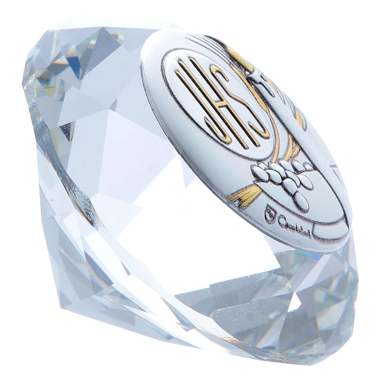 Diamante com chapa metal Vela IHS 4 cm 3