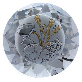 Wheat ear, chalice and grapes crystal diamond with metal plate 4 cm s1