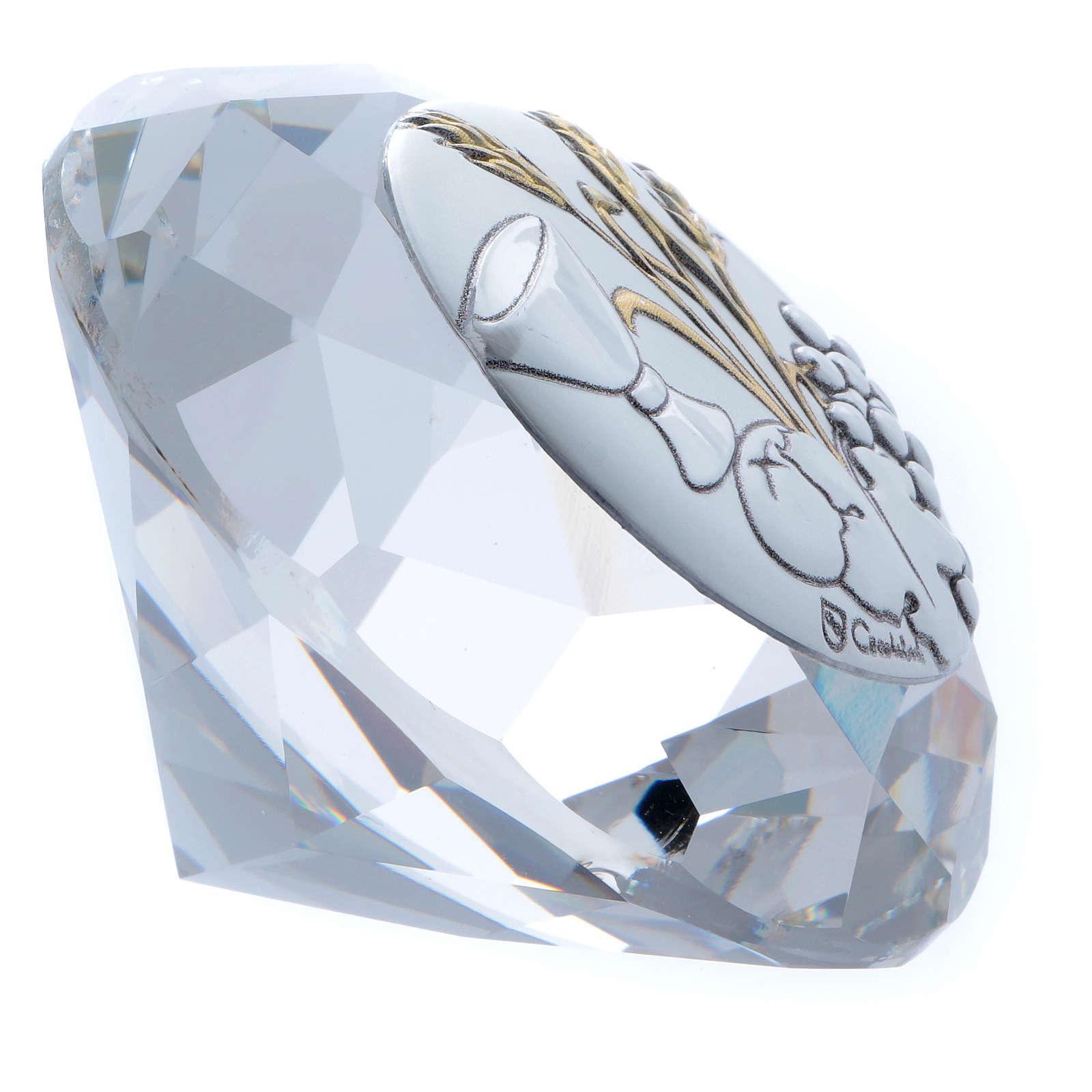 Diamante con placca metallo spiga, grano, calice e uva 4 cm 3
