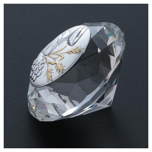 Diament z płytką metalową kłosy pszeniczne, kielich i winogron 4 cm 3