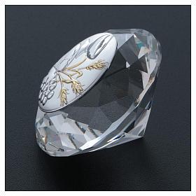 Diamante com chapa metal trigo, pão, cálice e uva 4 cm s3