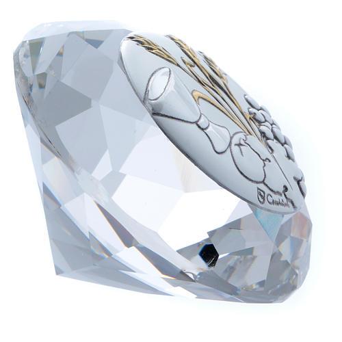 Diamante com chapa metal trigo, pão, cálice e uva 4 cm 2