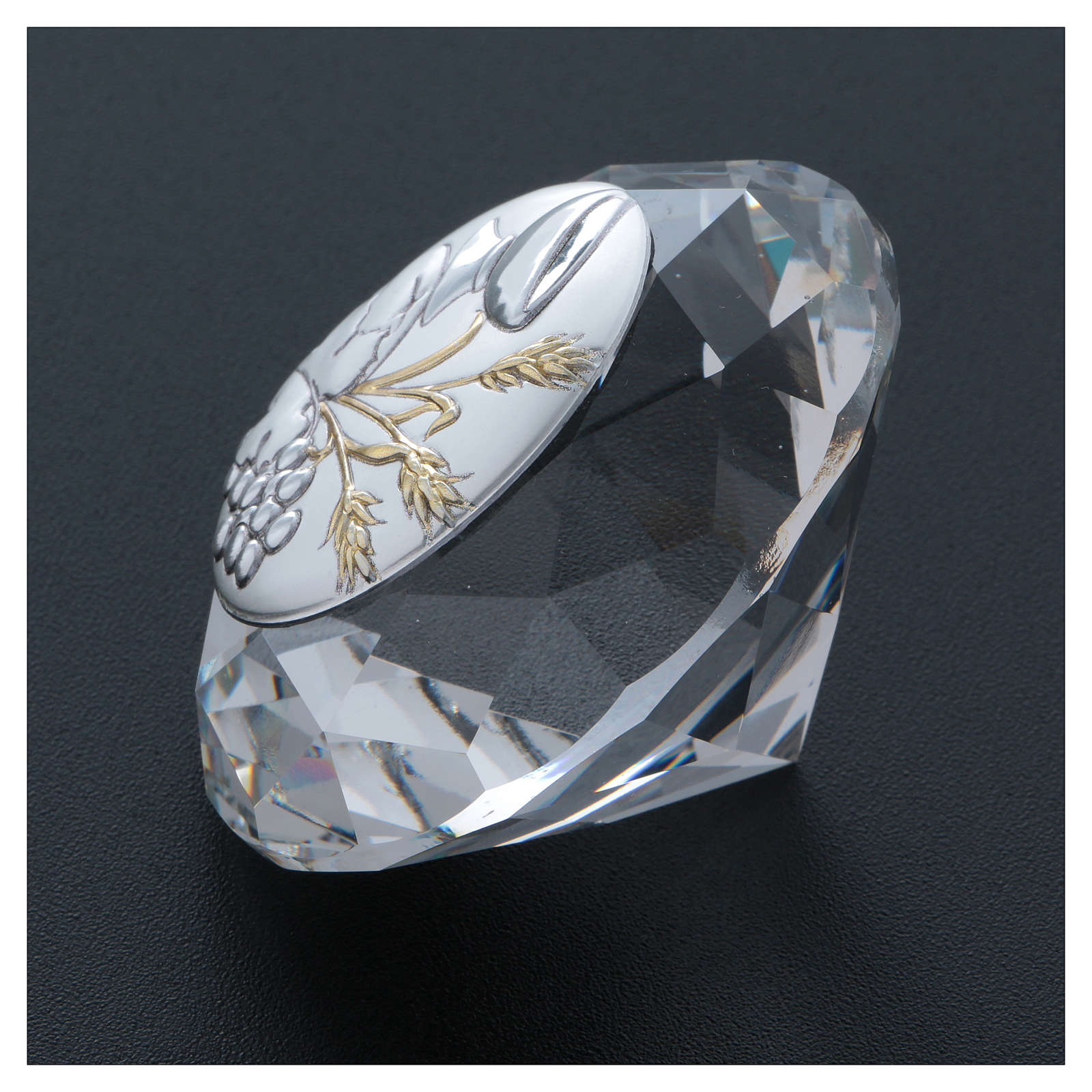Wheat ear, chalice and grapes crystal diamond with metal plate 4 cm 3