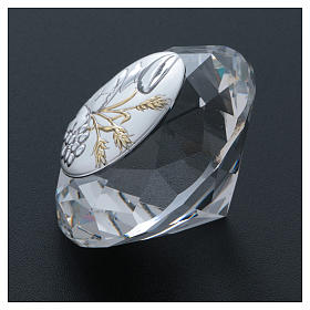 Wheat ear, chalice and grapes crystal diamond with metal plate 4 cm s3
