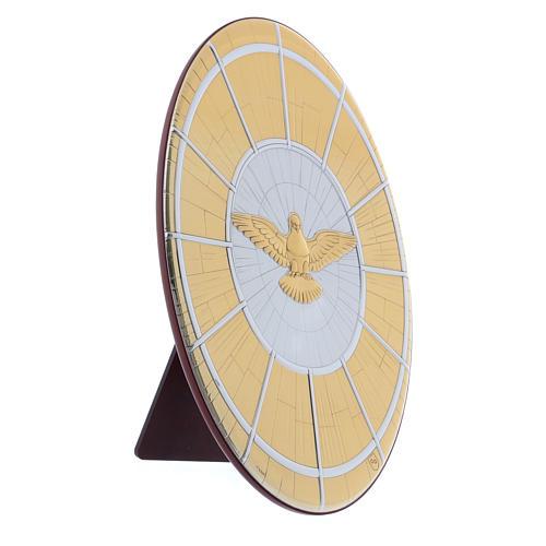 Quadro Colomba oro in bilaminato con retro  legno 33X22 cm 2