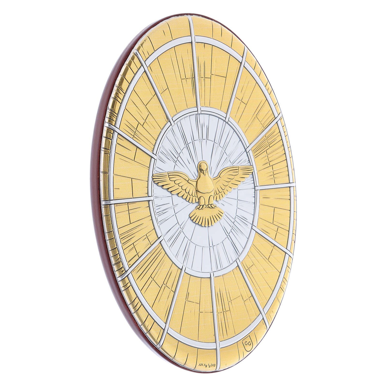 Quadro Colomba oro in bilaminato rotondo 15X10 cm 4