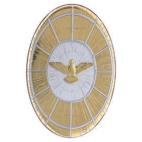 Quadro Colomba oro in bilaminato rotondo 15X10 cm s1
